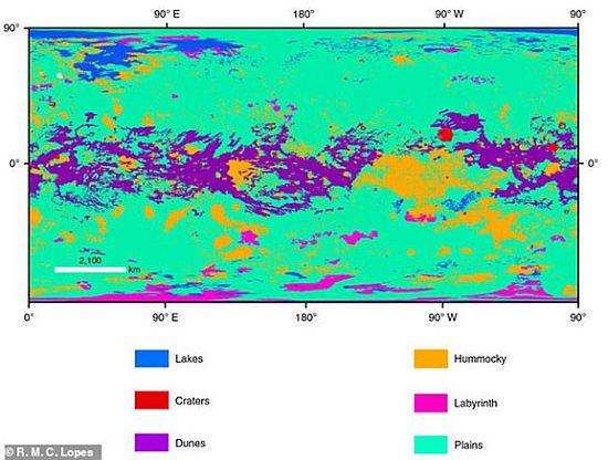 """Првата карта на Титан детално ја """"открива"""" мистериозната површина на Сатурновиот сателит"""
